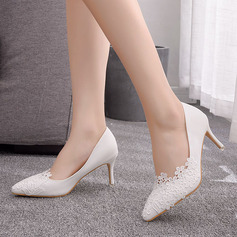 Kids' Leatherette Stiletto Heel Closed Toe Pumps With Flower Applique