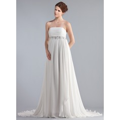 Empire Strapless Chapel Train Chiffon Wedding Dress With Ruffle Lace Beading
