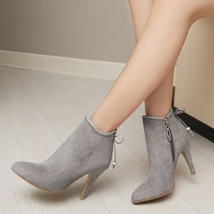 Women's Suede Stiletto Heel Pumps Ankle Boots With Bowknot Zipper shoes (088145081)