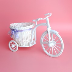 Tricycle Shape Tabletop  Rattan Straw Flowers Basket