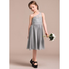 A-Line/Princess One-Shoulder Knee-Length Chiffon Lace Junior Bridesmaid Dress