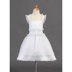 A-Line/Princess Knee-length Flower Girl Dress - Organza Sleeveless Straps With Beading/Sequins