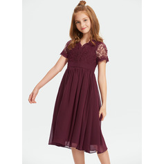 A-Line V-neck Knee-Length Chiffon Lace Junior Bridesmaid Dress