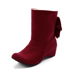 Women's Suede Wedge Heel Closed Toe Wedges Ankle Boots With Bowknot shoes