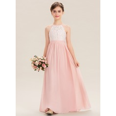 Floor-length Flower Girl Dress - Chiffon Lace Sleeveless Scoop Neck (269239473)