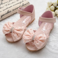Girl's Peep Toe Microfiber Leather Flat Heel Sandals Flats Flower Girl Shoes With Beading Bowknot Velcro