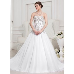 Ball-Gown Sweetheart Royal Train Tulle Wedding Dress With Embroidered Beading