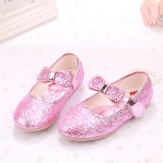 Girl's Closed Toe Sparkling Glitter Flat Heel Flats Flower Girl Shoes With Bowknot Sparkling Glitter Velcro