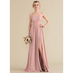 Sweetheart Floor-Length Chiffon Lace Prom Dresses With Split Front (272198636)