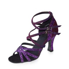 Women's Leatherette Sparkling Glitter Mesh Heels Latin Party With Lace-up Dance Shoes