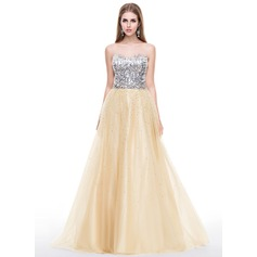 A-Line/Princess Sweetheart Sweep Train Tulle Sequined Prom Dress With Beading