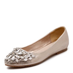 Women's Leatherette Flat Heel Flats With Rhinestone
