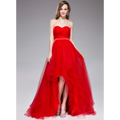 A-Line/Princess Sweetheart Asymmetrical Tulle Holiday Dress With Ruffle (020045155)