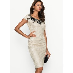 Polyester With Lace Knee Length Dress (199170465)