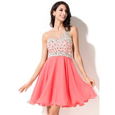 A-Line/Princess One-Shoulder Short/Mini Chiffon Homecoming Dress With Beading Sequins