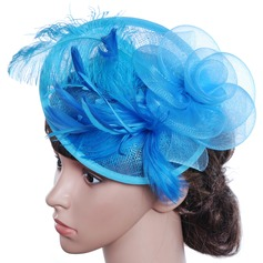 Ladies' Beautiful/Gorgeous/Special/Glamourous/Classic Cambric With Feather Floppy Hat