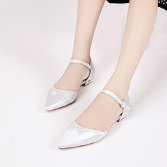 Women's Silk Like Satin Low Heel Closed Toe Flats Sandals With Buckle Ruffles