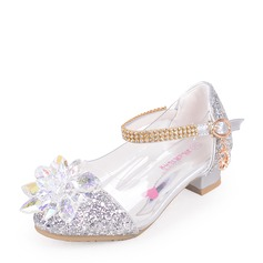 Girl's Sparkling Glitter Low Heel Closed Toe Sandals With Rhinestone Sparkling Glitter