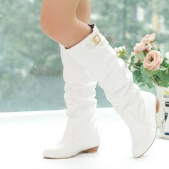 Women's Leatherette Flat Heel Knee High Boots With Buckle shoes