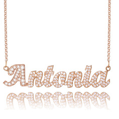Custom 18k Rose Gold Plated Silver Name Necklace With Diamond - Birthday Gifts Mother's Day Gifts