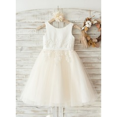 Ivory Satin Champagne Tulle Wedding Flower Girl Knee-length Dress with Ivory Beaded Lace