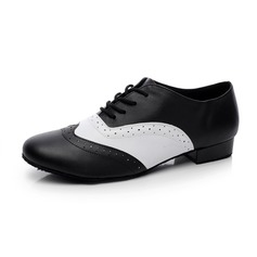 Men's Real Leather Flats Latin Modern Ballroom With Lace-up Dance Shoes