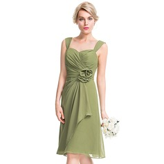 A-Line/Princess Sweetheart Knee-Length Chiffon Bridesmaid Dress With Flower(s) Cascading Ruffles