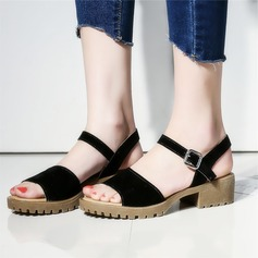 Women's Suede Chunky Heel Sandals Peep Toe Slingbacks With Buckle shoes