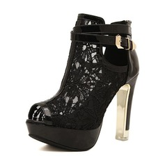 Women's Lace PU Stiletto Heel Sandals Pumps Platform Peep Toe With Buckle shoes