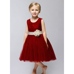 A-Line/Princess Tea-length Flower Girl Dress - Tulle Sleeveless Jewel With Sash/Flower(s)