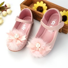 Girl's Closed Toe Microfiber Leather Flat Heel Flats Flower Girl Shoes With Beading Bowknot Velcro