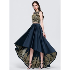 A-Line/Princess Scoop Neck Asymmetrical Satin Prom Dresses With Lace Beading (018146369)