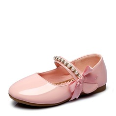 Girl's Closed Toe Patent Leather Flat Heel Flats Flower Girl Shoes With Beading Bowknot Rhinestone Velcro