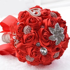 Romantic Round Satin/Rhinestone Bridal Bouquets
