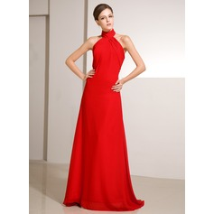 A-Line/Princess High Neck Sweep Train Chiffon Holiday Dress With Ruffle (020014242)