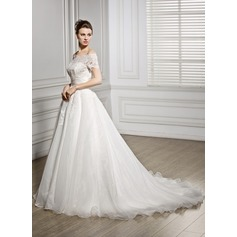 Ball-Gown Off-the-Shoulder Court Train Organza Wedding Dress With Ruffle Beading Sequins