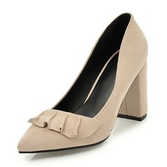 Kadın Süet Kalın Topuk Pompalar Kapalı Toe Ile Büzgü ayakkabı