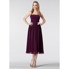 Empire Strapless Tea-Length Chiffon Bridesmaid Dress With Ruffle