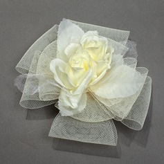 Elegant Net Yarn/Silk Flower Combs & Barrettes