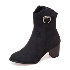 Women's Leatherette Chunky Heel Pumps Boots Ankle Boots أحذية
