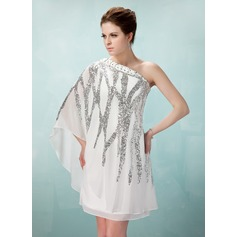 Sheath/Column One-Shoulder Knee-Length Chiffon Cocktail Dress With Beading Sequins