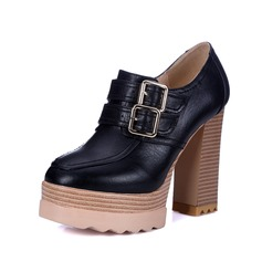 Women's Leatherette Chunky Heel Pumps Platform Closed Toe With Buckle shoes