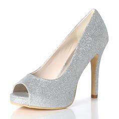 Kadın Köpüklü Glitter İnce Topuk Peep Toe Platform Pompalar
