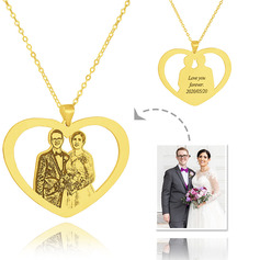 Custom 18k Gold Plated Silver Heart Black And White Photo Engraved Heart Necklace Engraved Necklace Photo Necklace - Birthday Gifts