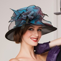 Ladies ' Smukke Organzastof med Fjer Bowler / Cloche Hat/Kentucky Derby Hatte/Tea Party Hats