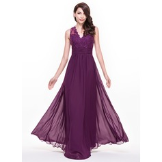 A-Line/Princess V-neck Floor-Length Chiffon Lace Evening Dress With Ruffle Beading Sequins