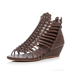 Women's Real Leather Wedge Heel Sandals Peep Toe shoes (087087389)