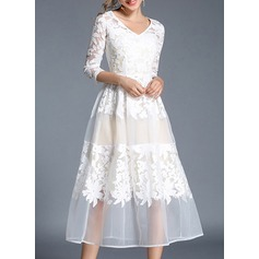 Polyester/Tulle With Embroidery Midi Dress (199136456)