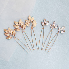 Ladies Fashion Rhinestone/Alloy Hairpins With Rhinestone (Set of 6)