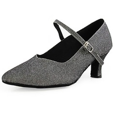 Women's Sparkling Glitter Heels Pumps Modern With Buckle Dance Shoes